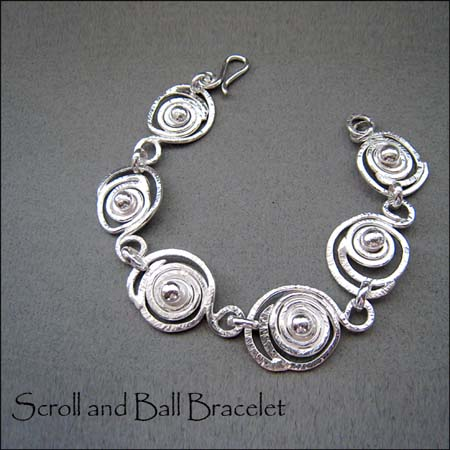B - Scroll and Ball Bracelet