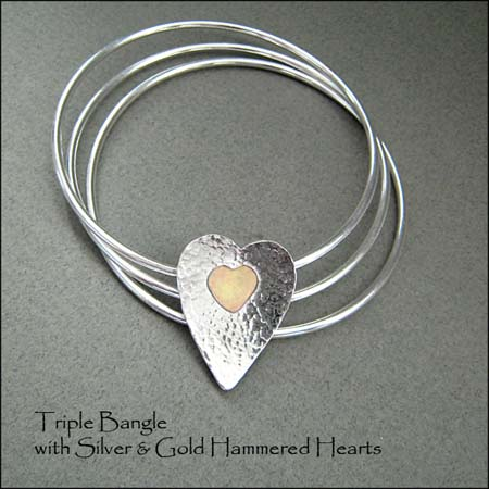 BA - Triple Bangle with Gold and Silver Hearts