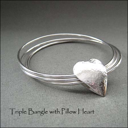 BA - Triple Bangle with Pillow Heart
