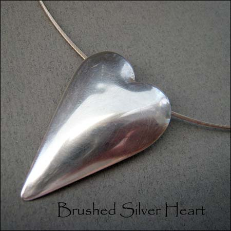 N - Brushed Silver Heart Pendant