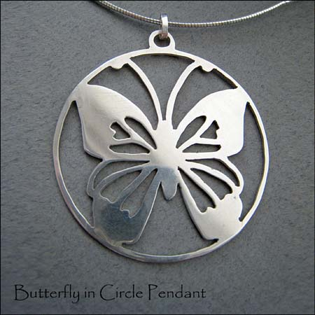 N - Butterfly in Circle Pendant