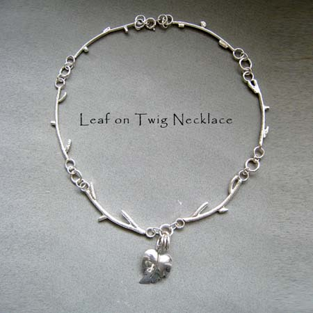 N - Leaf on Twig Necklace