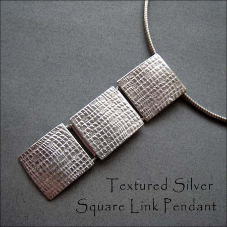 N - Textured Silver Square Link Pendant