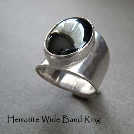 R - Hematite Wide Band Ring