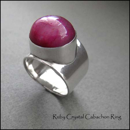 R - Ruby Crystal Cabachon Ring