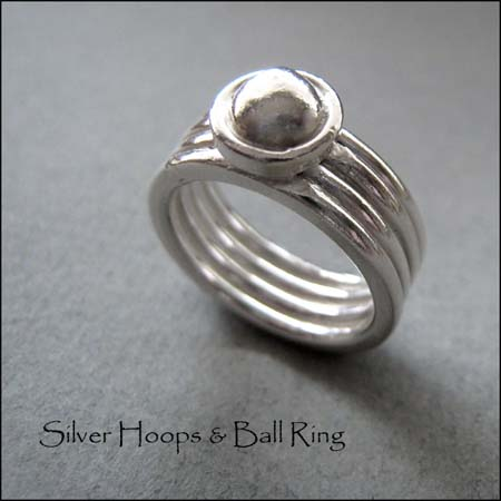 R - Silver Hoops & Ball Ring