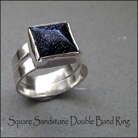 R - Square Sandstone Double Band Ring