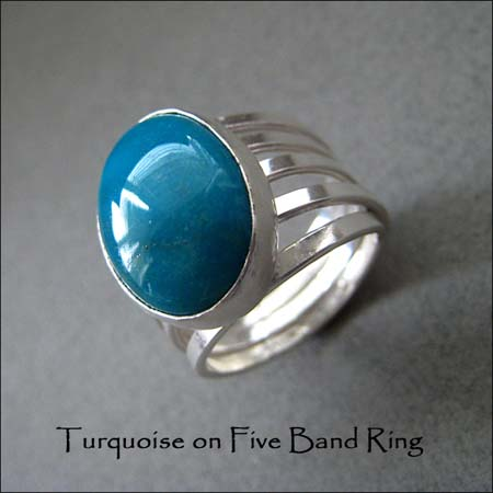 R - Turquoise on Five Band Ring