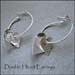 E - Double Heart Hoop Earrings