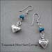 E - Turquoise & Silver Heart Earrings